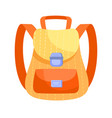 fancy yellow and orange backpack on white vector image