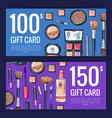 gift card vouchers for beauty products with vector image vector image
