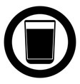 glass with fluid the black color icon in circle vector image vector image