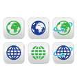Globe earth buttons in color vector image vector image