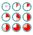 green clock icons with red minutes charts vector image vector image