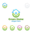 green home logo real estate logo design with vector image