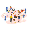 group of people or volunteers feeding pets and vector image