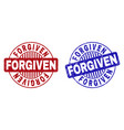 grunge forgiven textured round stamp seals vector image vector image