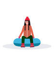 happy woman sledding on snow rubber tube winter vector image