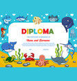 kids diploma with underwater animals award border vector image vector image