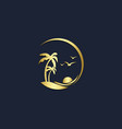 palm beach sunset tropic logo vector image vector image