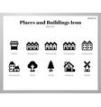 places and buildings icons solid pack vector image
