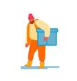 port harbor worker in orange vest carry big box vector image