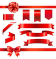 Red Bow With Ribbons Set vector image vector image