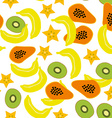 Seamless pattern with banana papaya kiwi carambola vector image