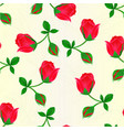seamless texture red rosebud stem with leaves vector image vector image