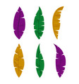 set colorful feathers on white background vector image vector image