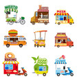 set of street vehicles buses minivans trucks vector image