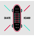 skateboard deck with sneakers lace skaters shoes vector image vector image