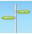 two green road arrow signs vector image vector image