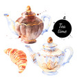 watercolor tea pots breakfast painted isolated vector image vector image