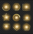 yellow glowing lights shape on black transparent vector image vector image