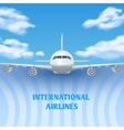 Realistic plane aircraft airplane in sky with vector image