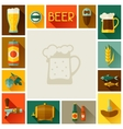 Frame with beer icons and objects in flat style vector image