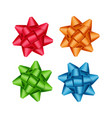 set of red orange green blue gift ribbon bows vector image