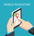 GPS mobile navigation with smartphone in hand vector image
