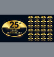 anniversary labels in golden color set vector image vector image