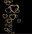 Background with gold and silver hearts vector image vector image