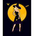Beautiful witch in black dress vector image vector image