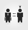 black startuper and investor icon vector image vector image