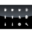 bottle and glass beer icons on black background vector image