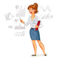 business woman stands at the blackboard vector image vector image