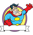 Cartoon Super Hero with a Banner vector image vector image