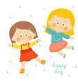 children with smiling faces are playing jumping vector image vector image