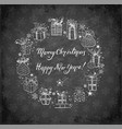 christmas card with gift boxes on blackboard vector image vector image