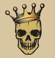 color with skull in crown vector image vector image