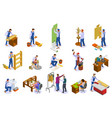 craftsman work isometric set vector image vector image