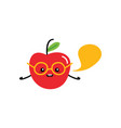 cute and smart apple character in glasses vector image vector image