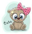 cute drawing bear girl vector image