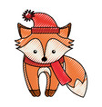 cute scribble christmas fox cartoon vector image