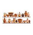 different ancient greek ceramic dishware vector image vector image