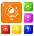 egg icons set color vector image