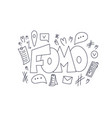 fomo hand drawn text stylized word vector image vector image