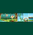 four different scene fantasy world vector image