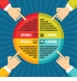 Human hands with colored circle infographic busi vector image vector image