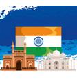 india fla with architecture and taj mahal