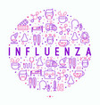 influenza concept in circle with thin line icons vector image