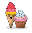 kawaii ice cream cupcake image vector image
