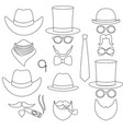 line art black and white 6 man avatar element set vector image