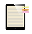 liner paper on tablet screen with notepad vector image vector image